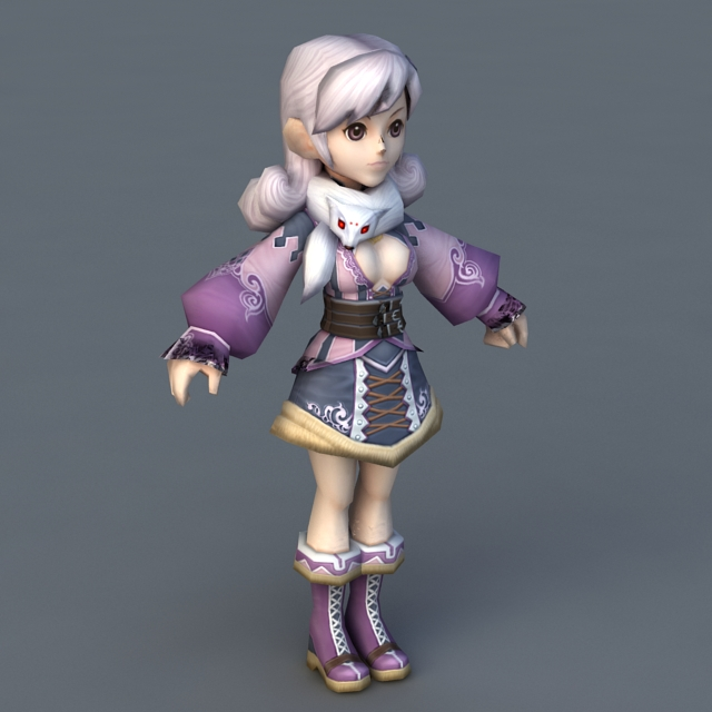 Pretty Anime Lady 3d model