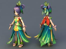 Peacock Fairy Queen 3d model