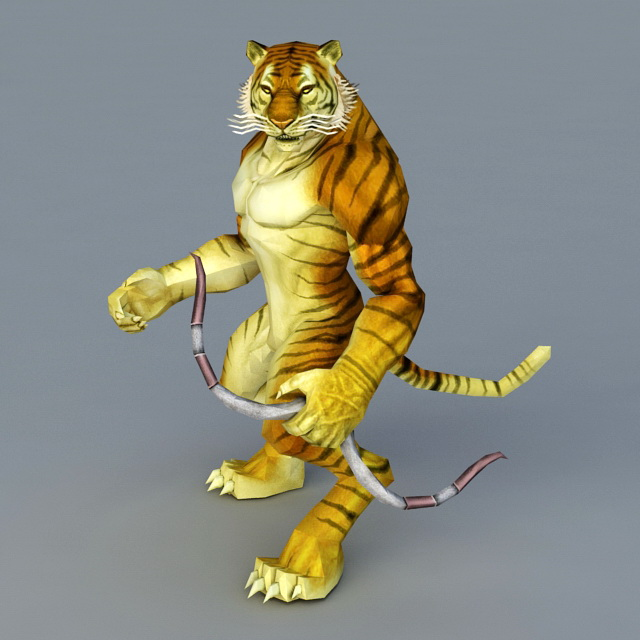 Tiger Archer with Bow 3d model