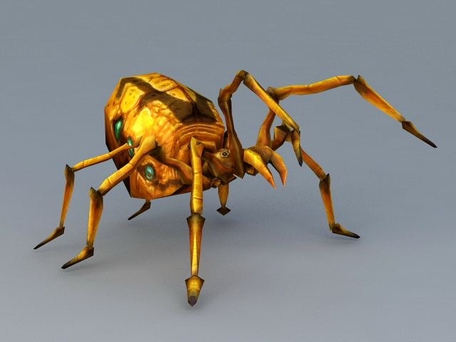 Yellow Spider Monster 3d Model 3ds Max Files Free Download