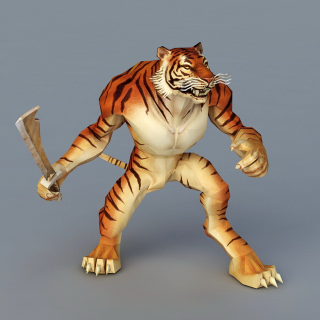 Tiger Warrior with Sword 3d model