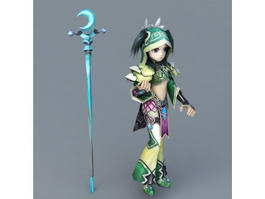 Female Anime Mage Girl 3d model