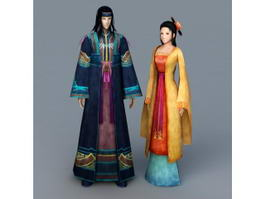 Anime Chinese Couple 3d model