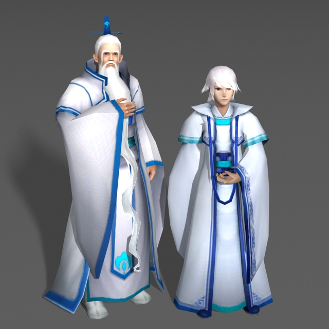 White Haired Couple 3d model