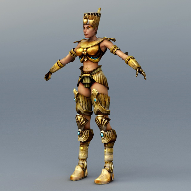 egypt female warrior rigged 3d model 3ds max files free download
