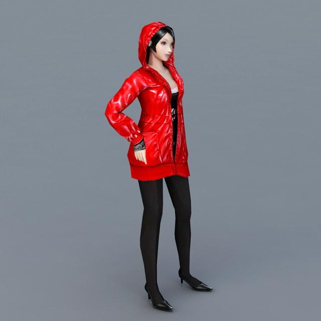 Red Hooded Girl 3d model