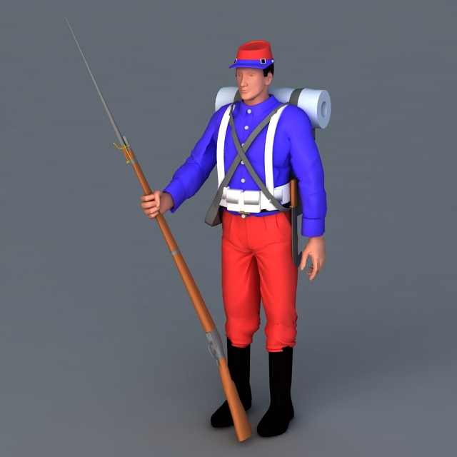 Colonial War Soldier 3d model