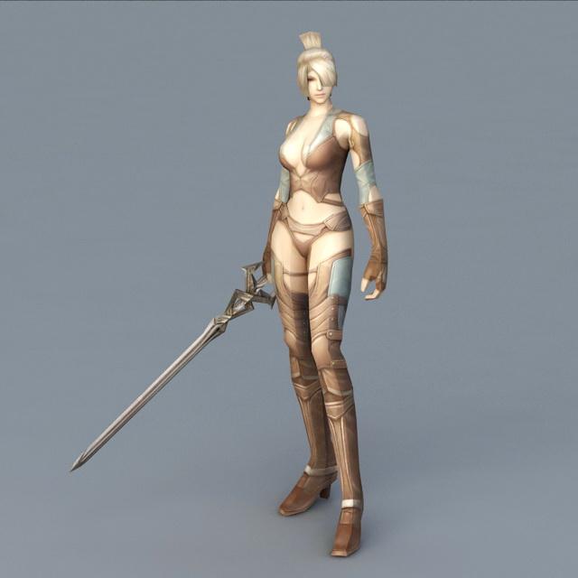 Woman Warrior with Sword 3d model