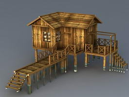 Old Wood Beach Cabin 3d model