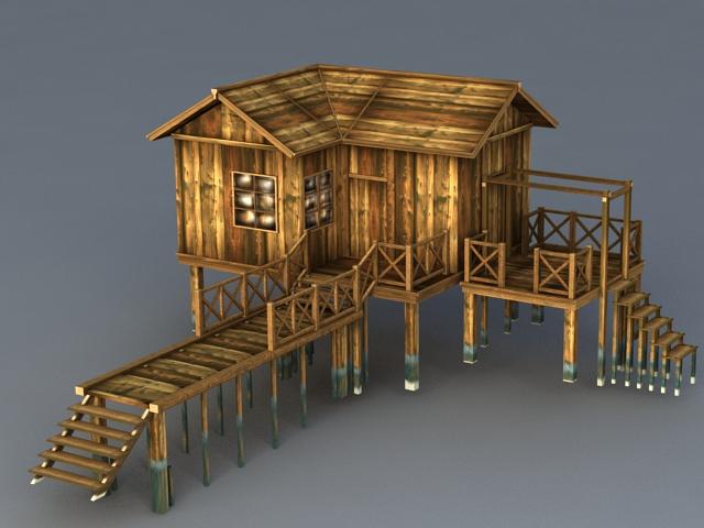 Old Wood Beach Cabin 3d model