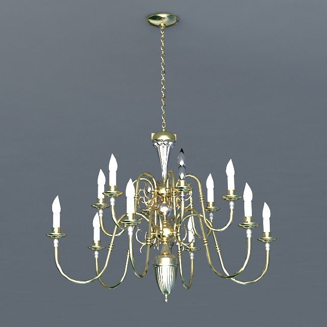 Antique Brass 12 Candles Chandelier 3d model