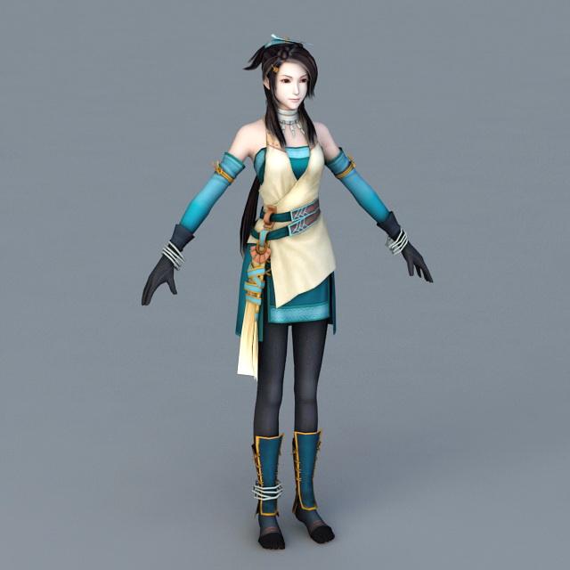 Anime Girl Fighter 3d model