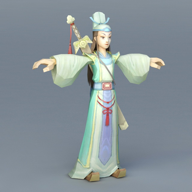 Anime Chinese Swordsman 3d model