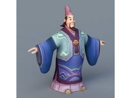 Cartoon Ancient Chinese Scholar 3d model