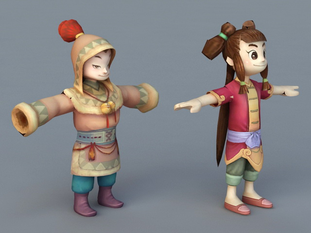 Cartoon Boy And Girl 3d Model 3ds Max Files Free Download