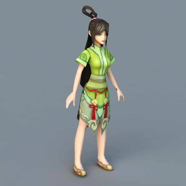 Green Anime Girl 3d model