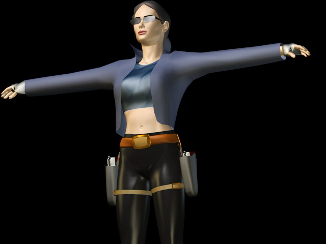 Lady with Gun 3d model