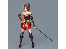 Women with Samurai Sword 3d model