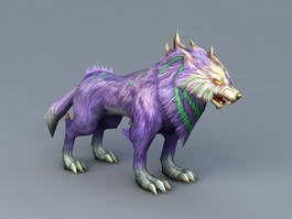 Purple Anime Wolf 3d model
