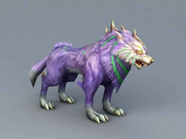 Purple Anime Wolf 3d model