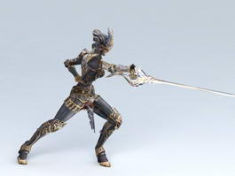 Female Knight Attack 3d model