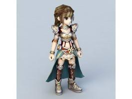 Chibi Warrior Girl 3d model