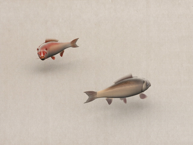 Animated Chinese Fish Painting 3d model