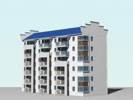 Contemporary Apartment Building 3d model