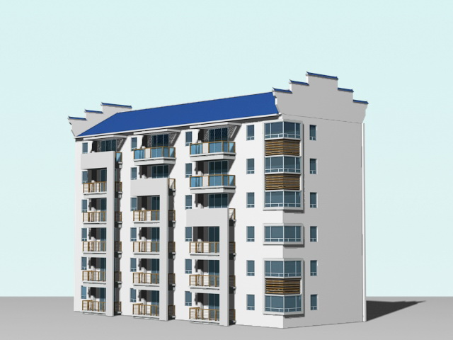 Contemporary Apartment Building 3d model