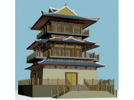 Japanese Buddhist Pagoda 3d model