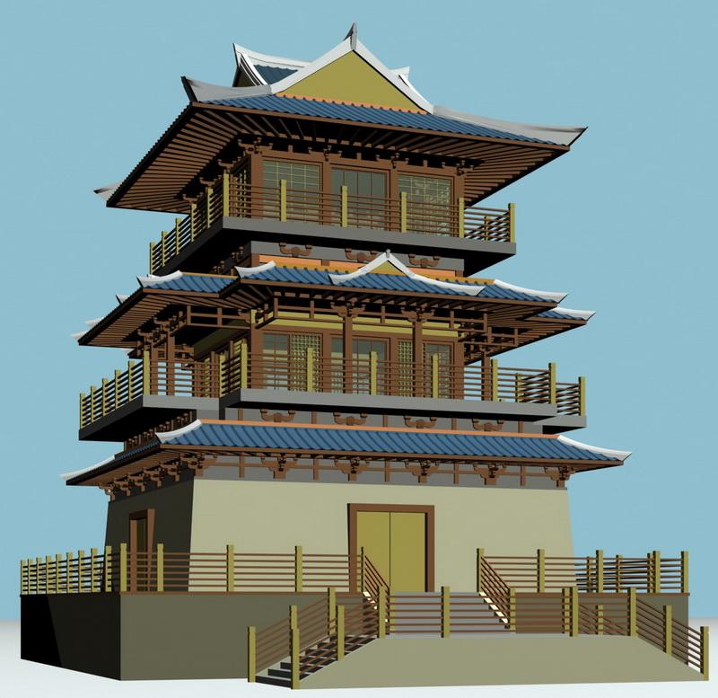 Japanese Buddhist Pagoda 3d model