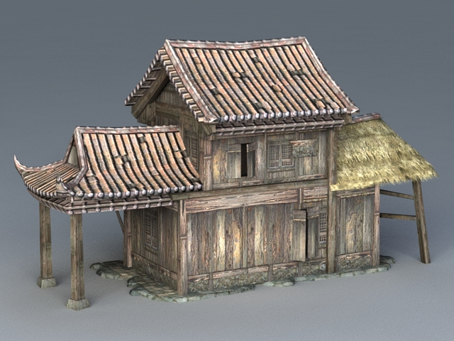 Ancient Chinese Wooden House 3d Model 3ds Max Files Free