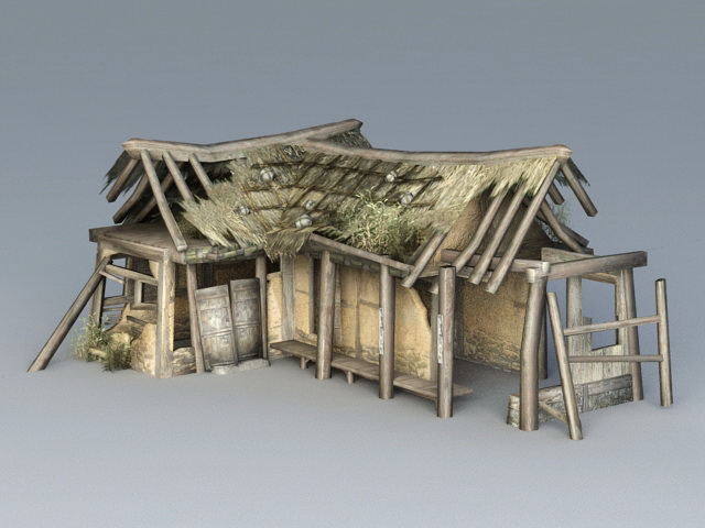 Broken Thatched Cottage 3d Model 3ds Max Files Free
