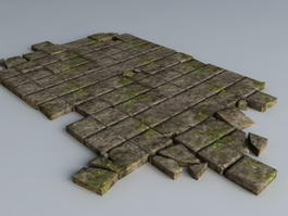 Broken Black Brick Floor 3d model