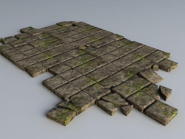 Broken Black Brick Floor 3d model