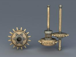 Old Wooden Windmill Gear 3d model