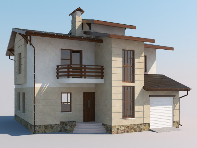 simple modern house 3d model - Home 3d Model