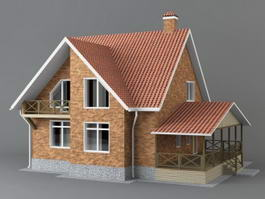 Classic Red Brick House 3d model