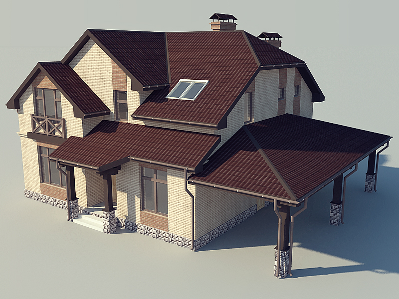 Country Home Design 3D Model 3Ds Max,Autodesk Fbx Files Free