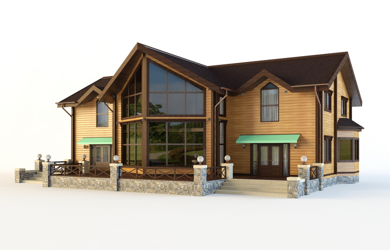 Wood Elevation Model : Beautiful wooden house d model ds max autodesk fbx files