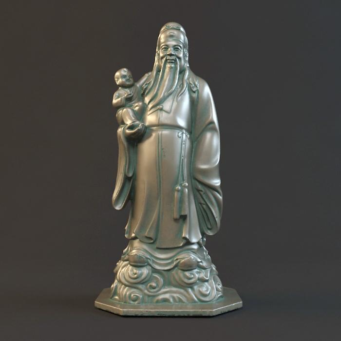 Chinese God of Fu Statue 3d model