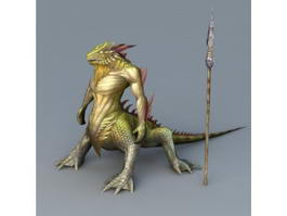 Lizard Man Warrior 3d model
