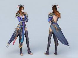 Beautiful Warrior Girl 3d model