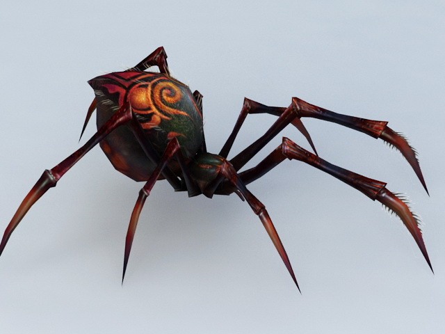 Black and Red Spider 3d model