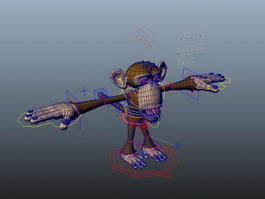 Monkey Cartoon Character Rigged 3d model