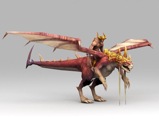 Warrior Riding Dragon 3d model