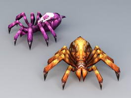Scary Cartoon Spiders 3d model