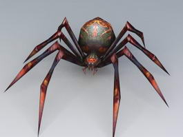 Red Black Poisonous Spider 3d model