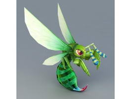 Green Honey Bee 3d model