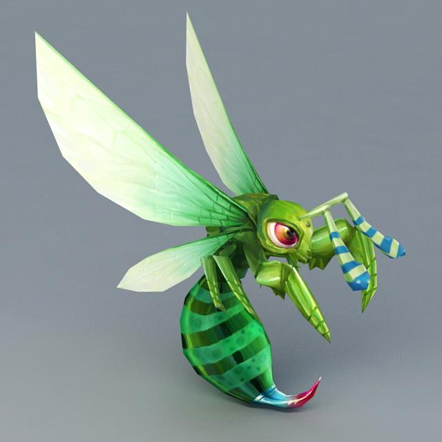Green Honey Bee 3D Model
